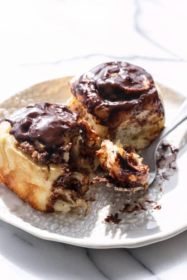 Mini chocolate peanut butter cinnamon rolls