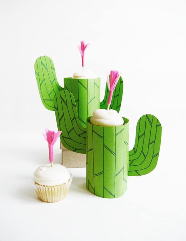 Mini cupcake cactus stand diy