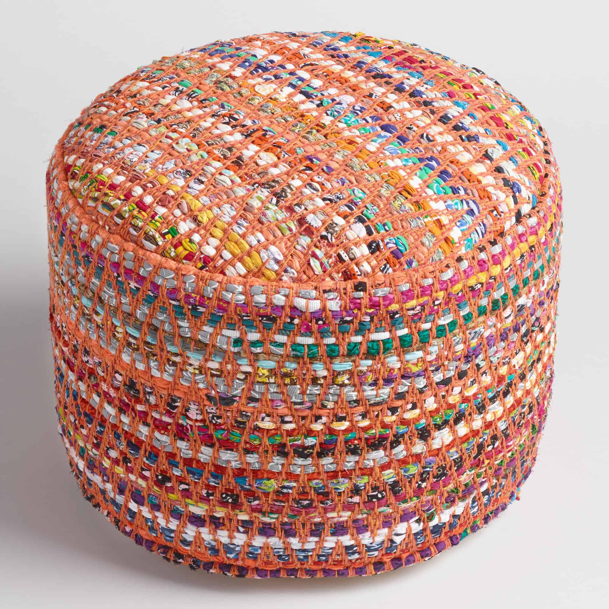 Multi color round chindi pouf from world market