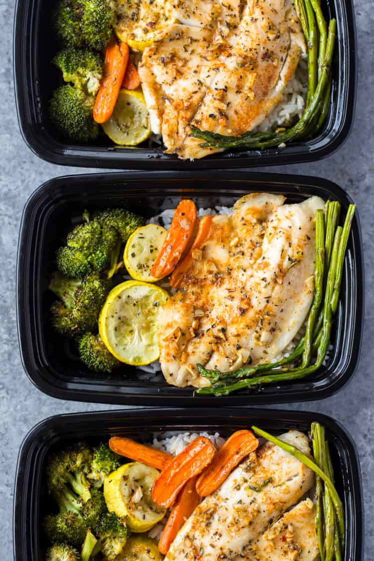 One pan tilapia and veggies meal prep