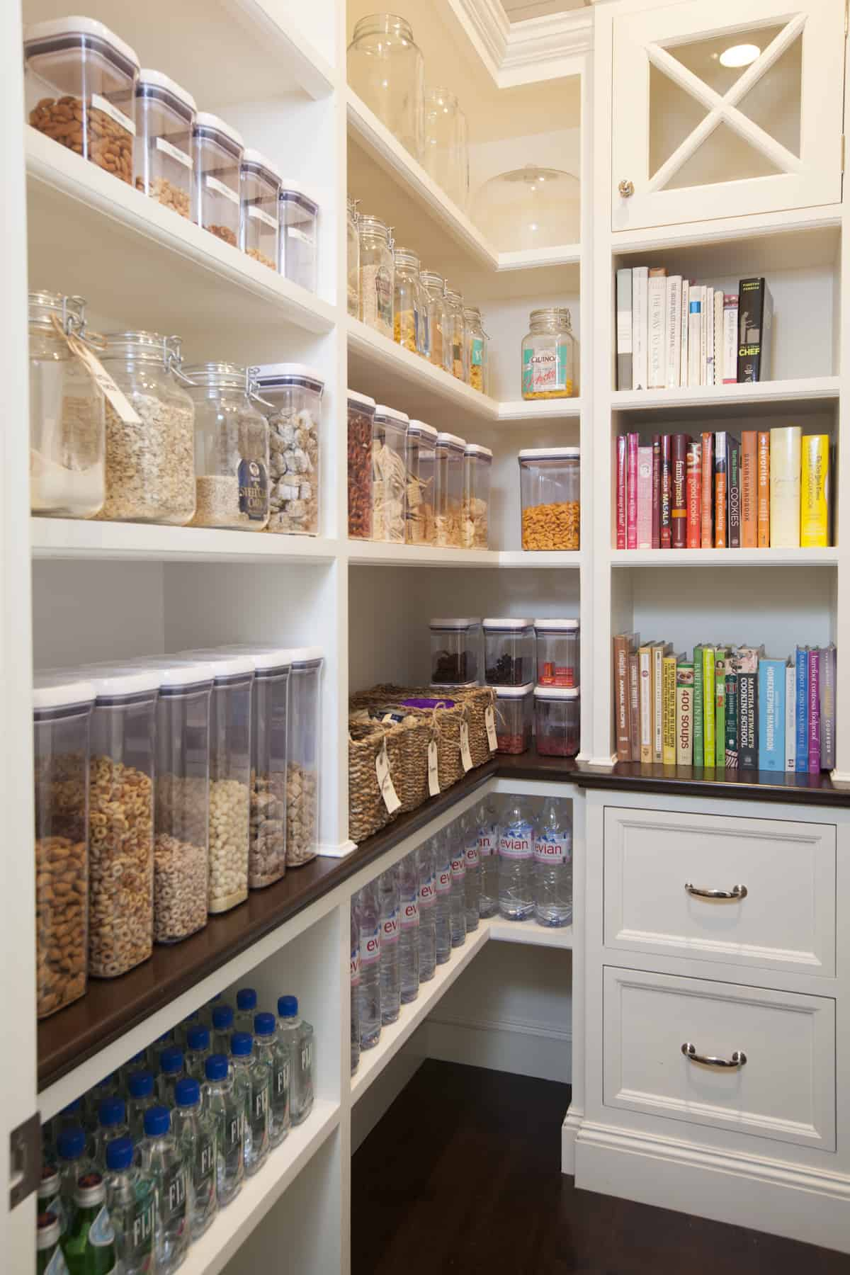 Organized pantry with attention to color