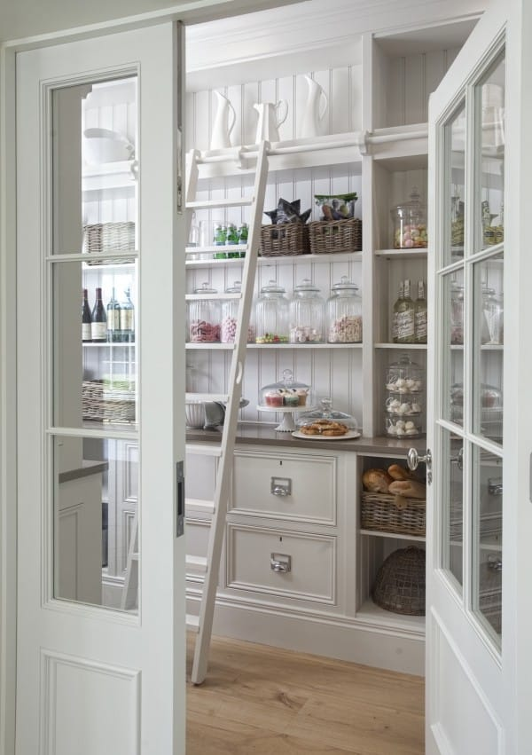 Organized pantry with ladder