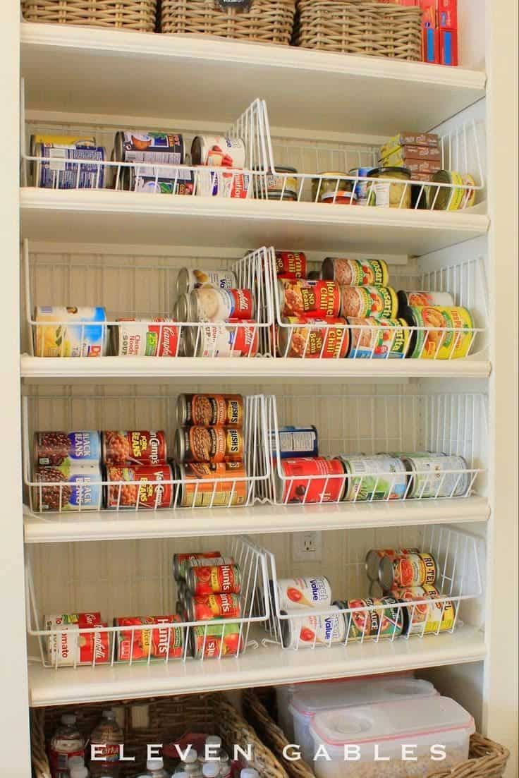 Organized pantry with stackable baskets
