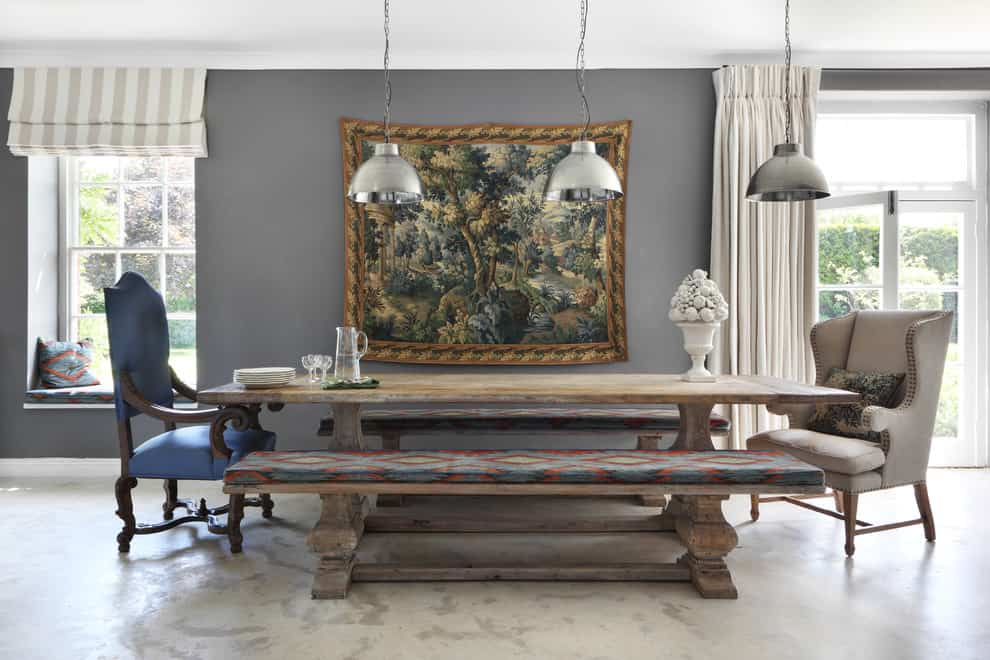 Owl grey wall in farmhouse inspired dining room