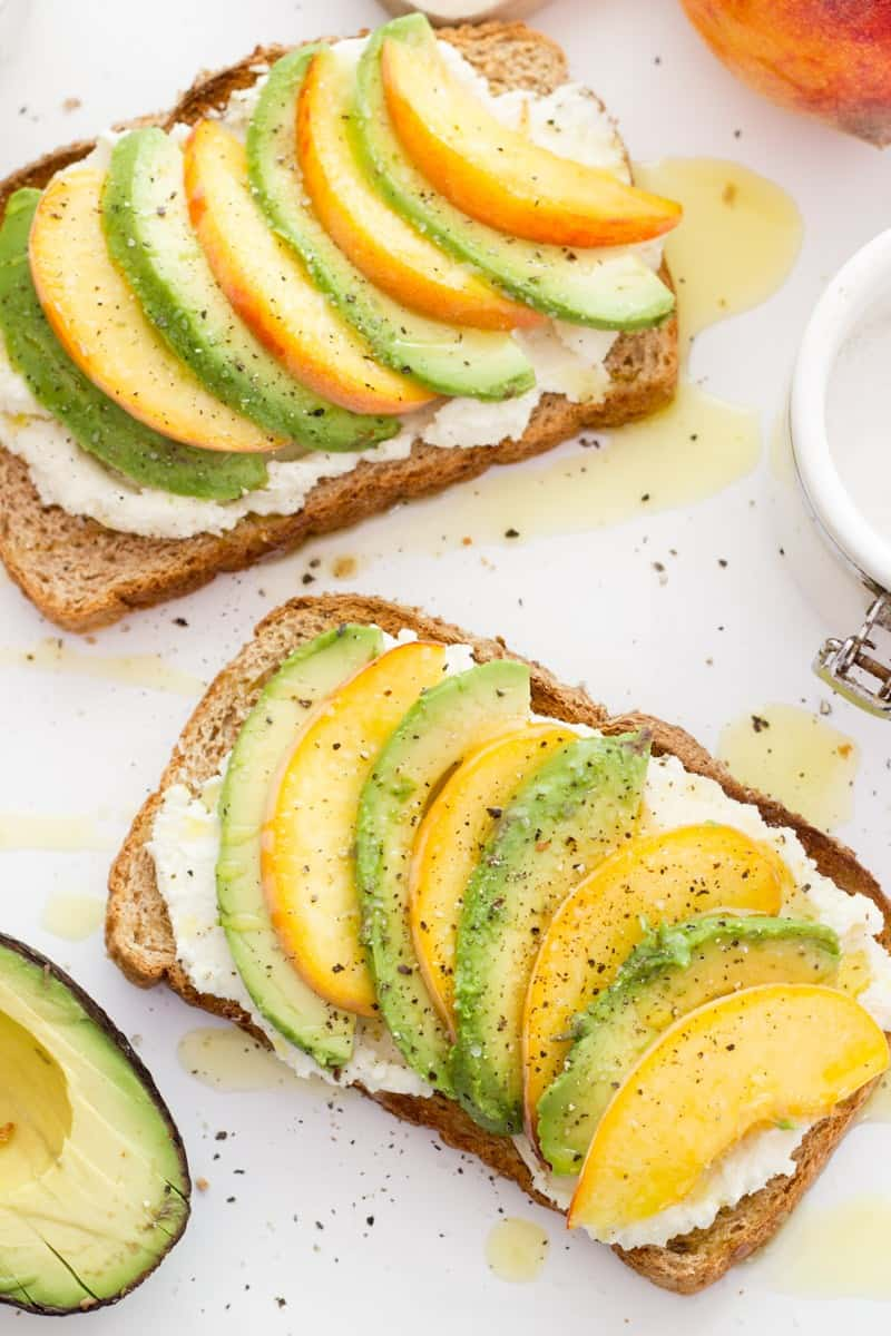 Peach and whipped feta avocado toast
