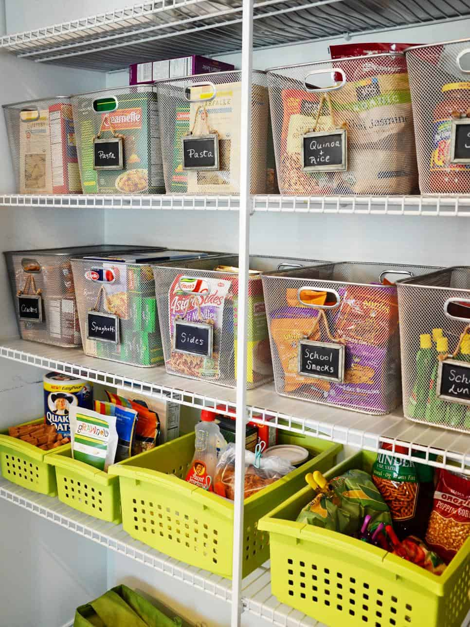 Steel and plastic bins for pantry organization