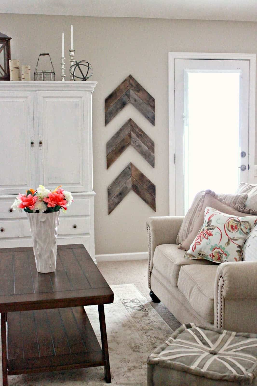 Taupe wall in farmhouse living room