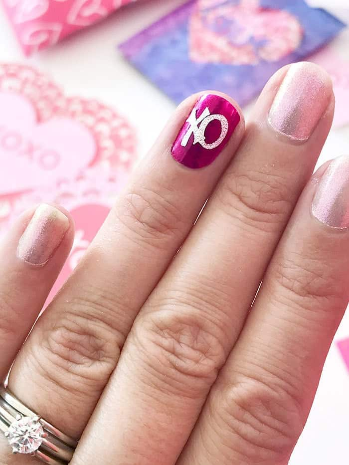 Valentine xo nail art decal with cricut