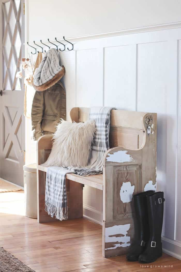 Winter entryway decorated with faux fur