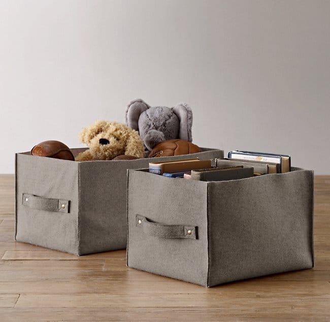 Wool felt storage bins