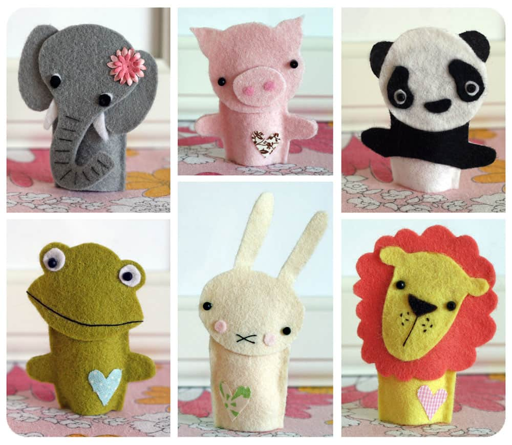 Adorable felt animal finger puppets