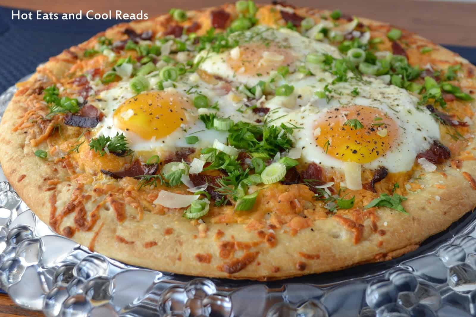 Bacon and asparagus breakfast pizza