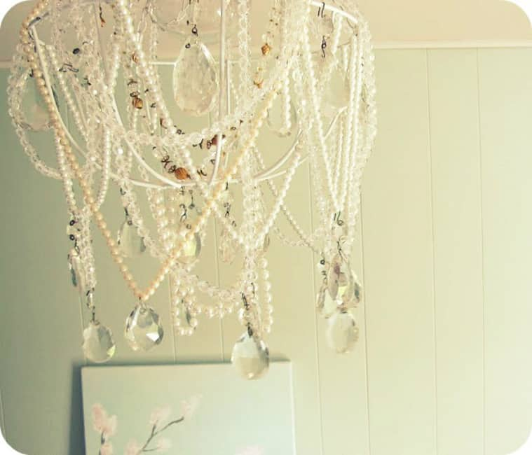 Broken pearl necklace chandelier
