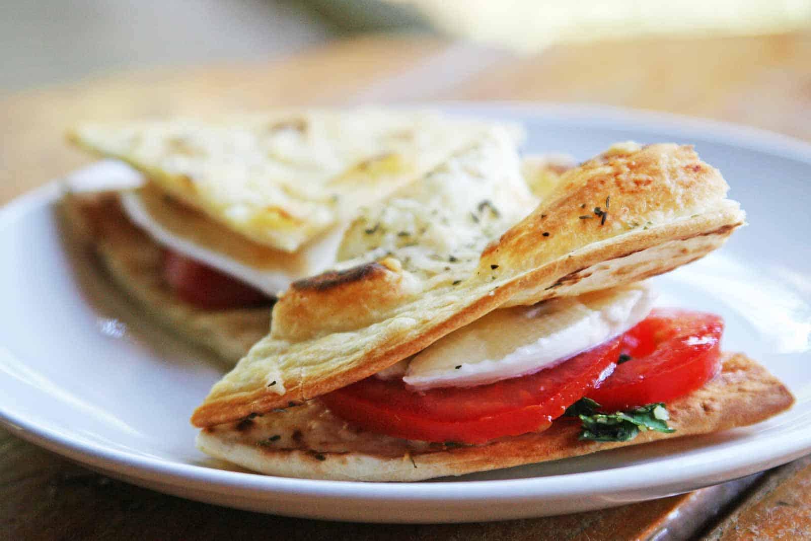 Caprese mini pita sandwiches
