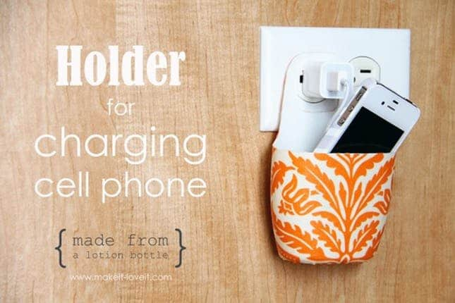 Cell phone charging holder from an empty lotion bottle