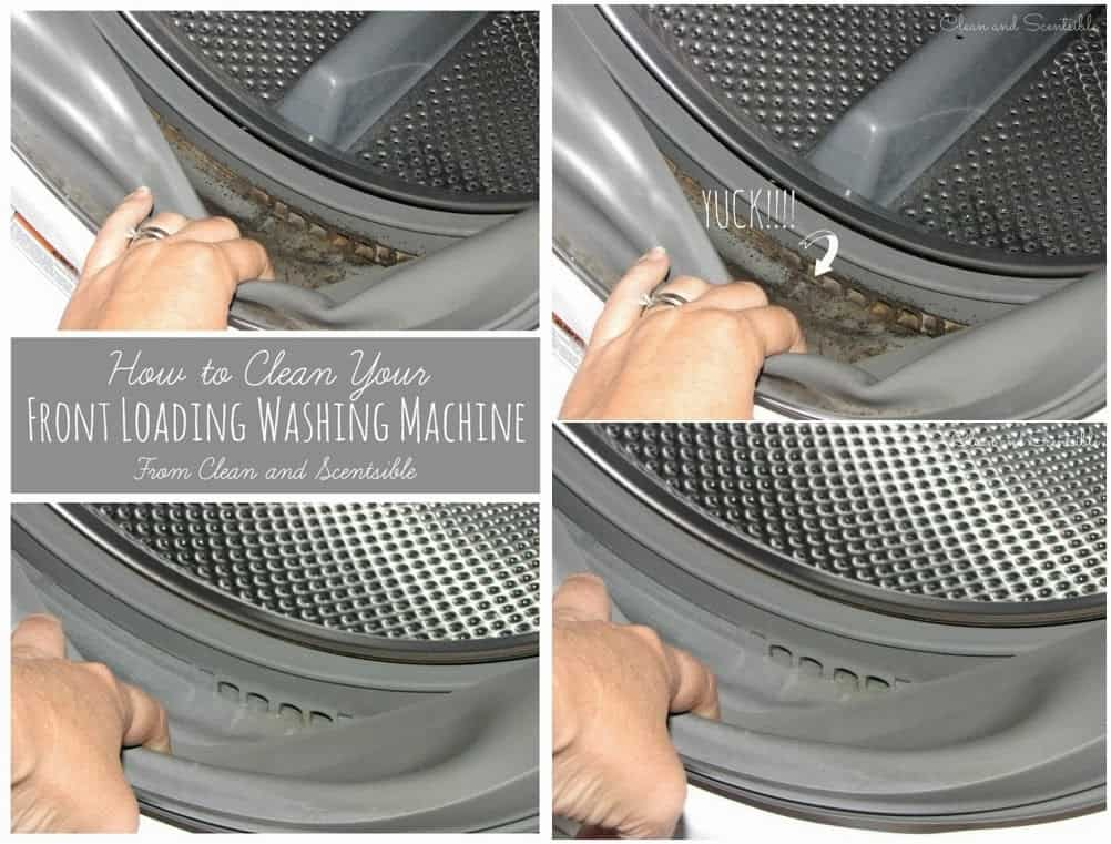 Clean a front loader with a warm cloth and a toothbrush
