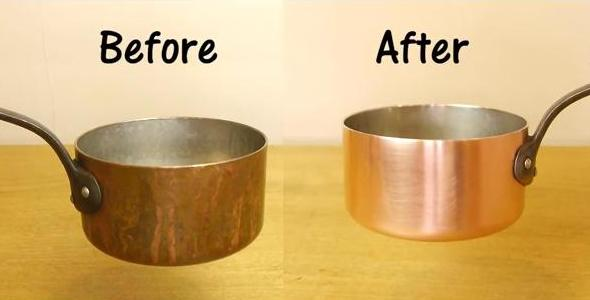 Clean copper pots with salt and wine vinegar