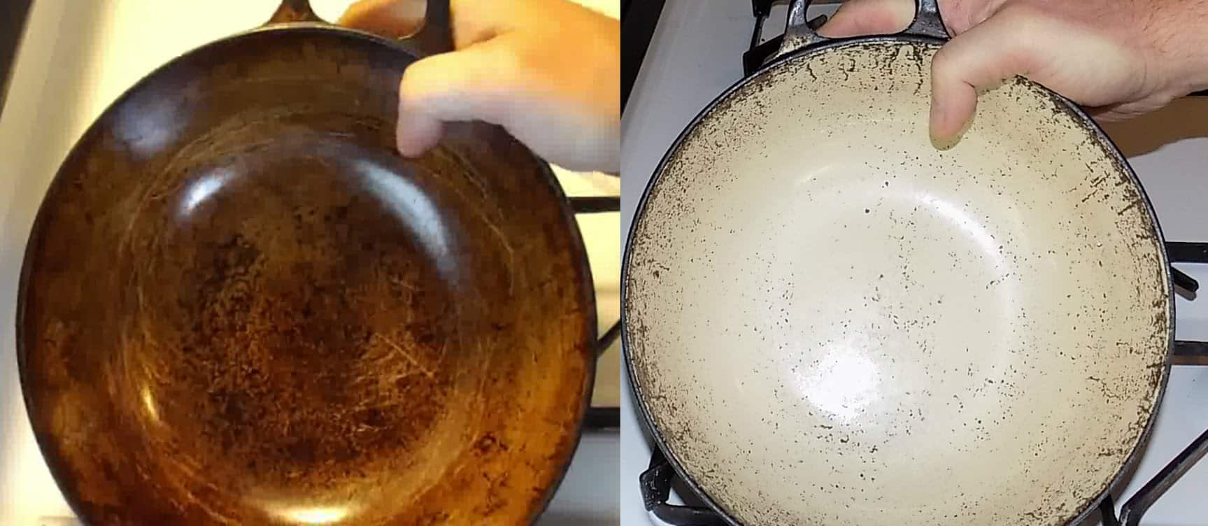 Clean stained enamel cookware with baking soda and hydrogen peroxide