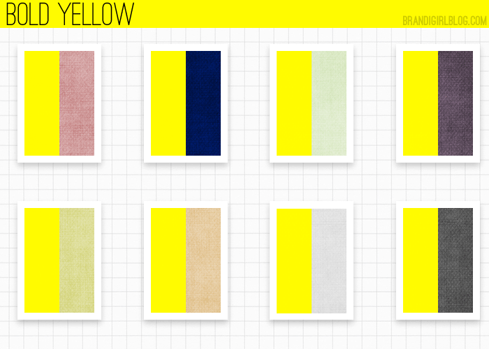 Colour wheel recommendations for bold yellow