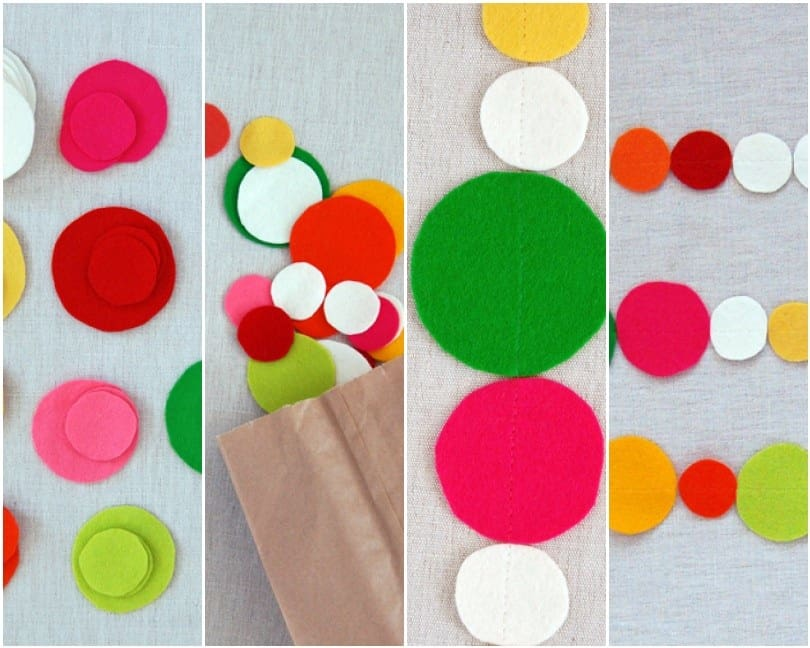Colourful felt circles garland