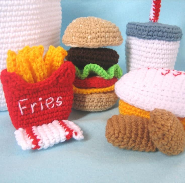 Crocheted happy meal