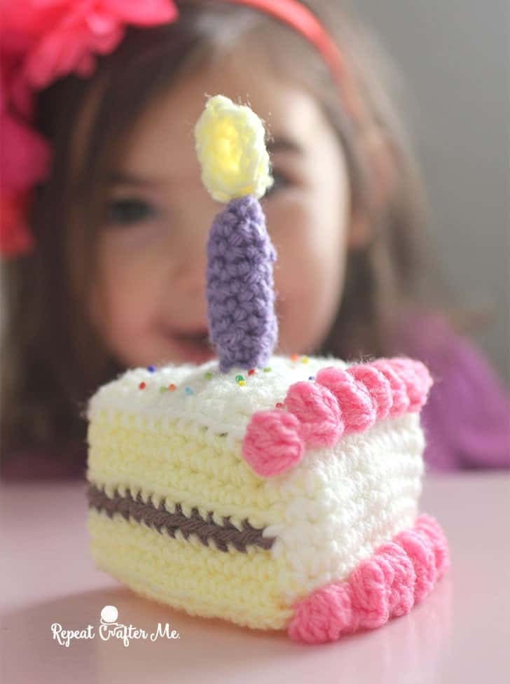 Crocheted birthday cake