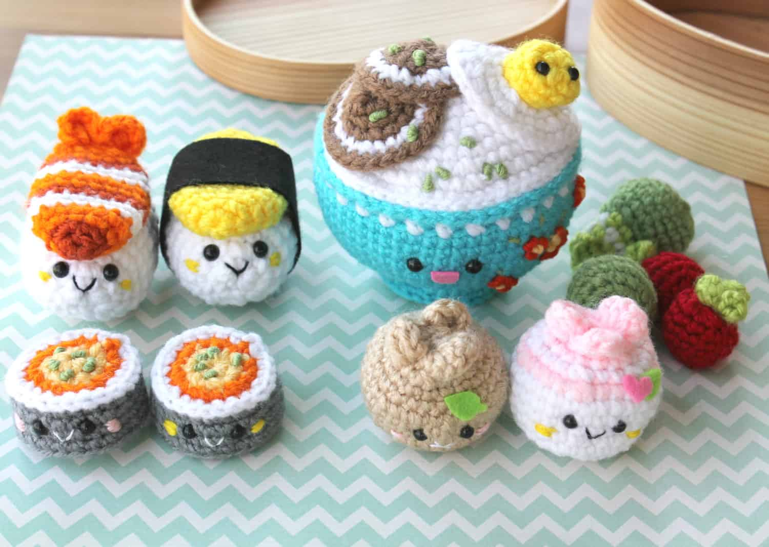 Crocheted sushi and dumplings