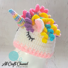 Crocheted unicorn hat