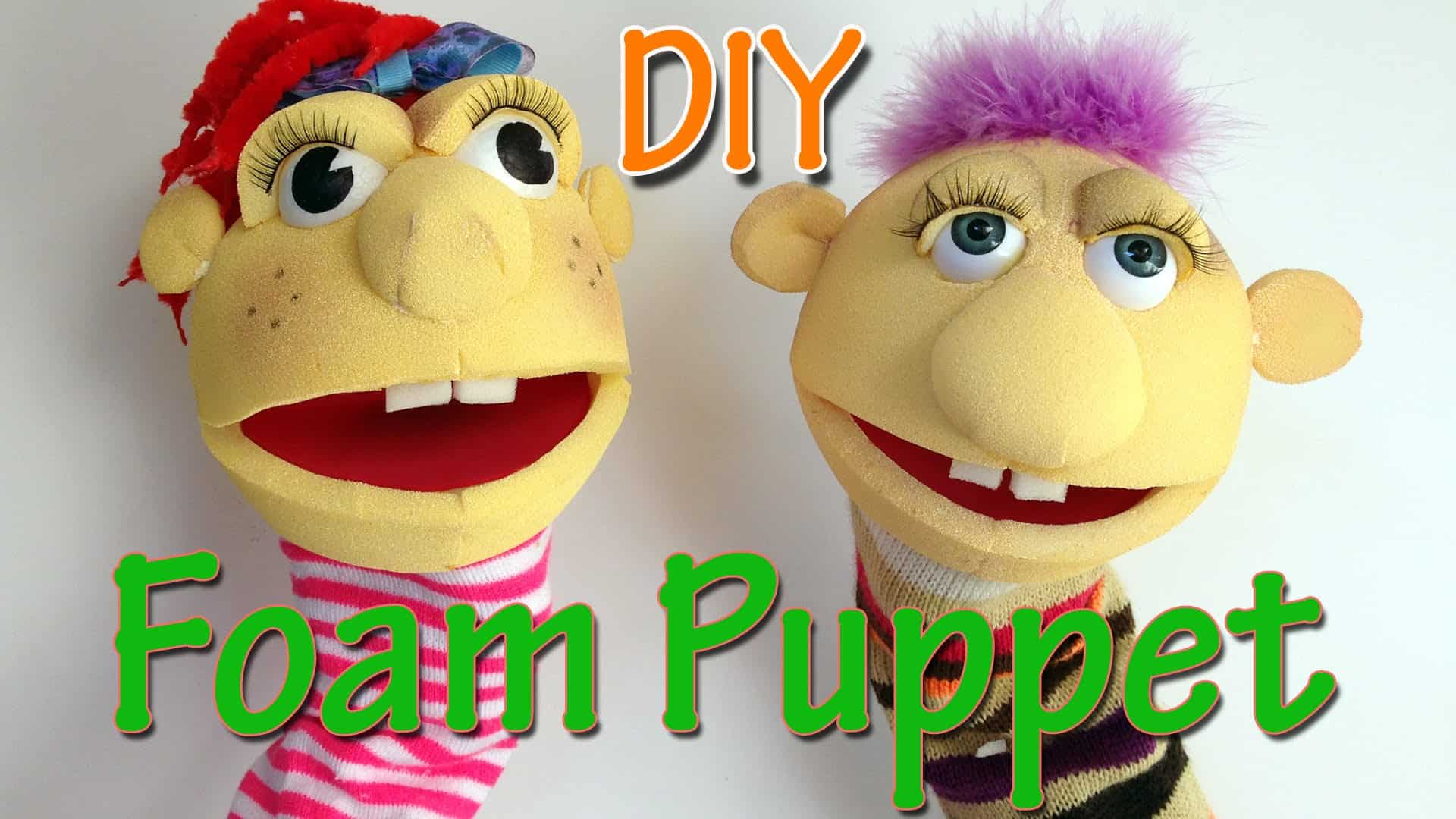 Cut foam and sock puppets