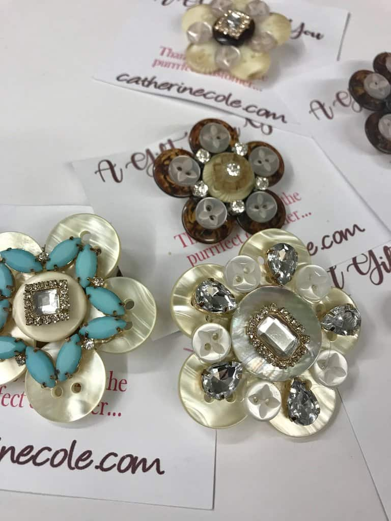 Cute button and rhinestone brooches