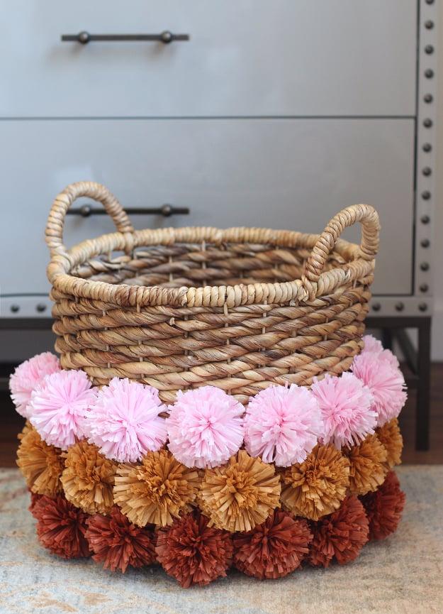 Cute pom pom basket