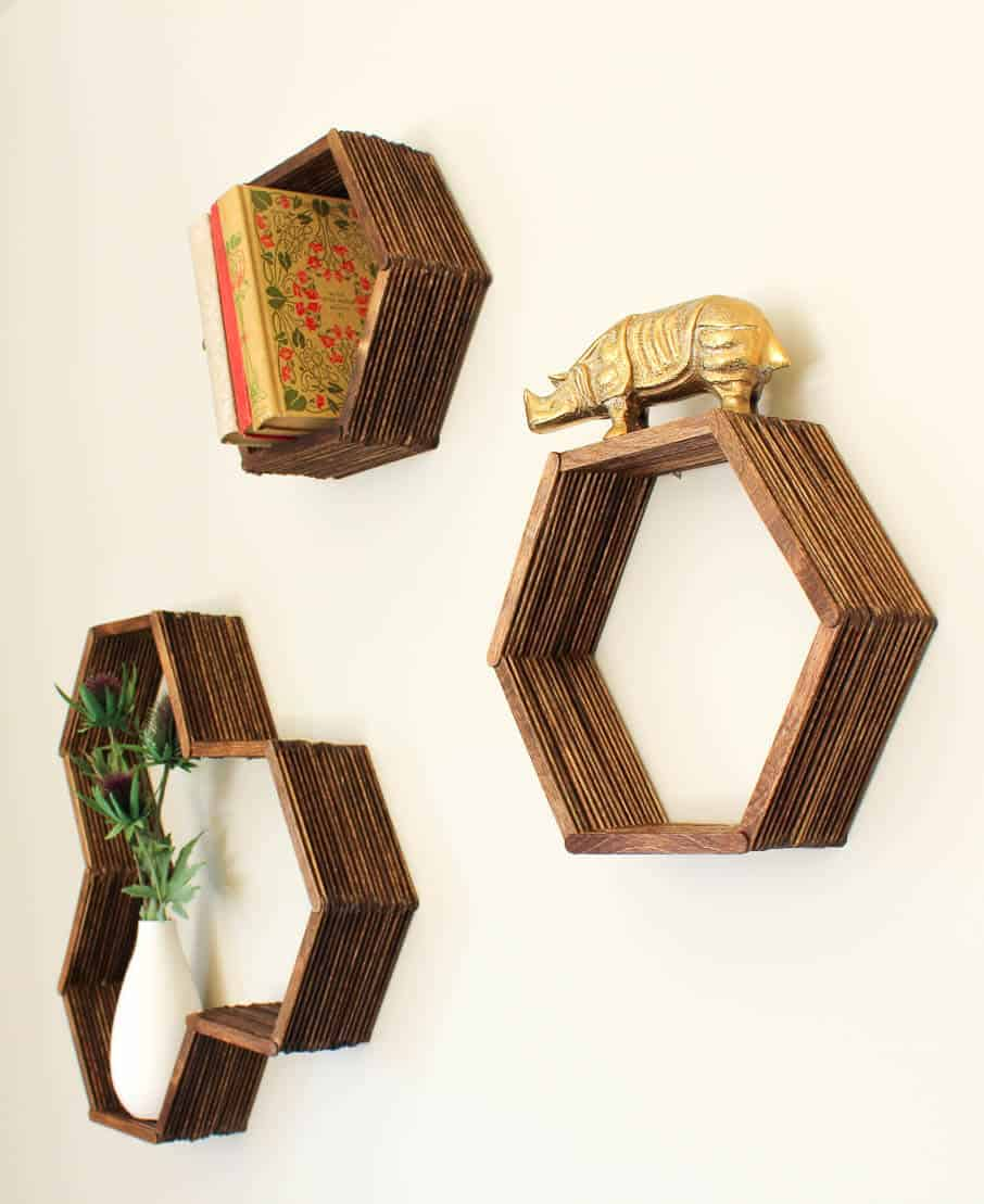 Diy honeycomb shelves popsicle sticks