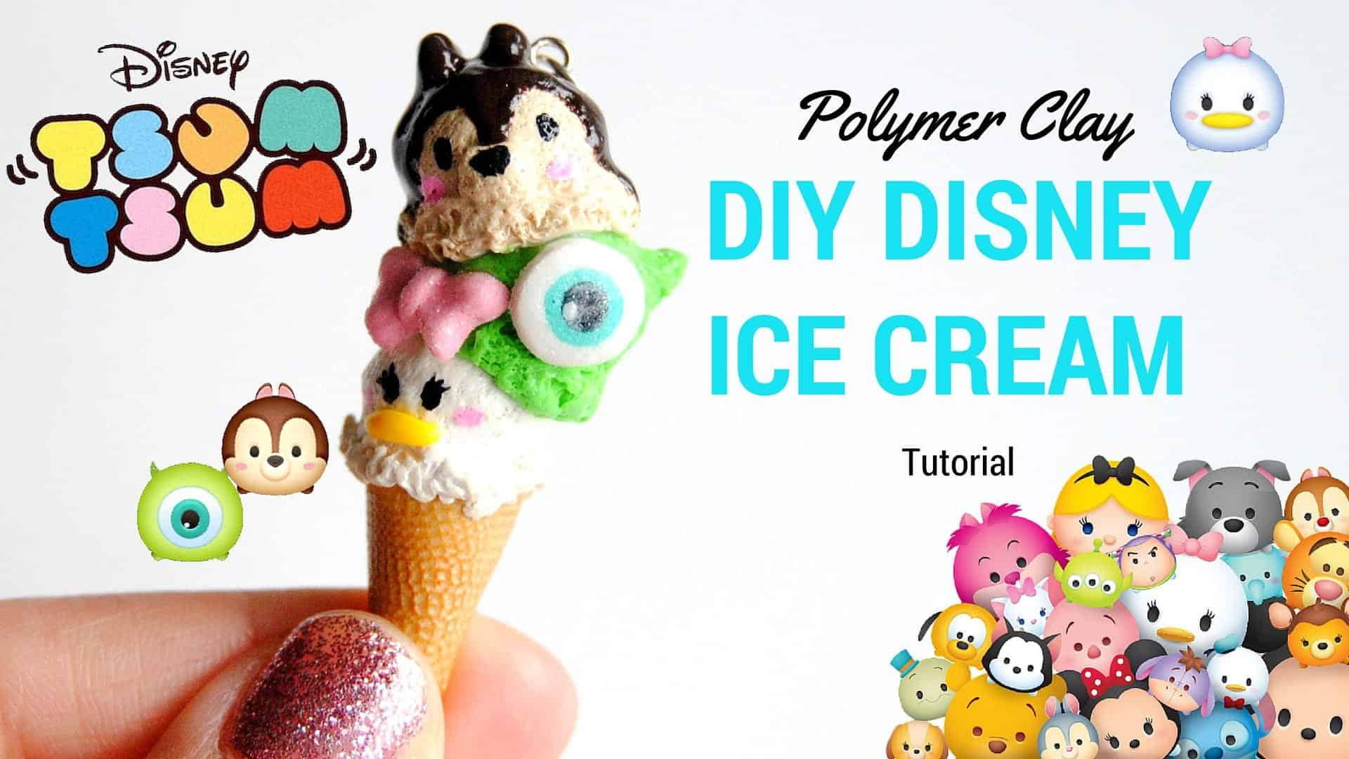 Diy tsum tsum disney polymer clay ice cream cone