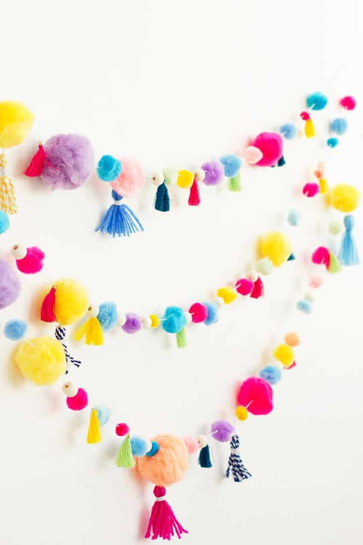 Diy pom pom and tassel garland