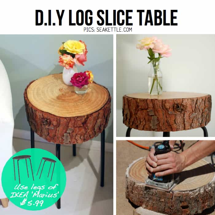 Diy rustic log slice table