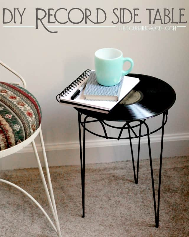 Diy vintage record side table