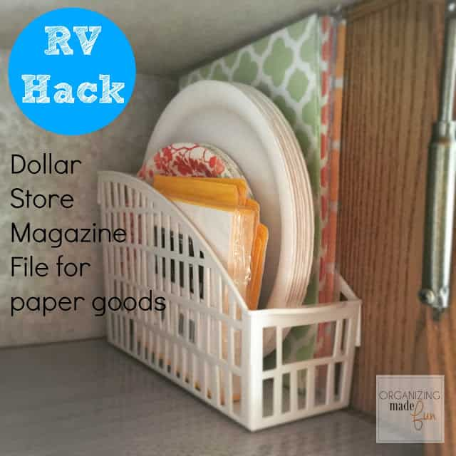 Dollar store magazine organizers for paper dishes in the rv