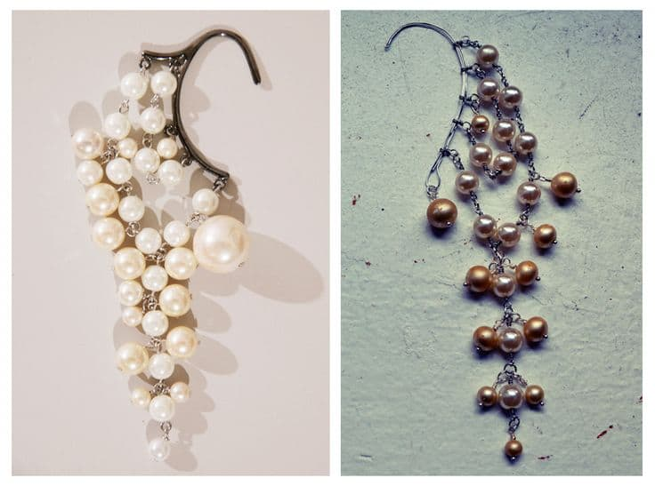 Ear cuffs from broken pearl necklaces