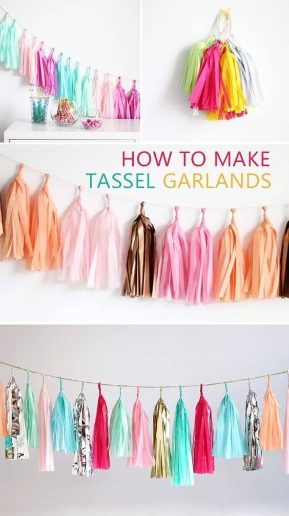 Exciting, brightly coloured tassel garland