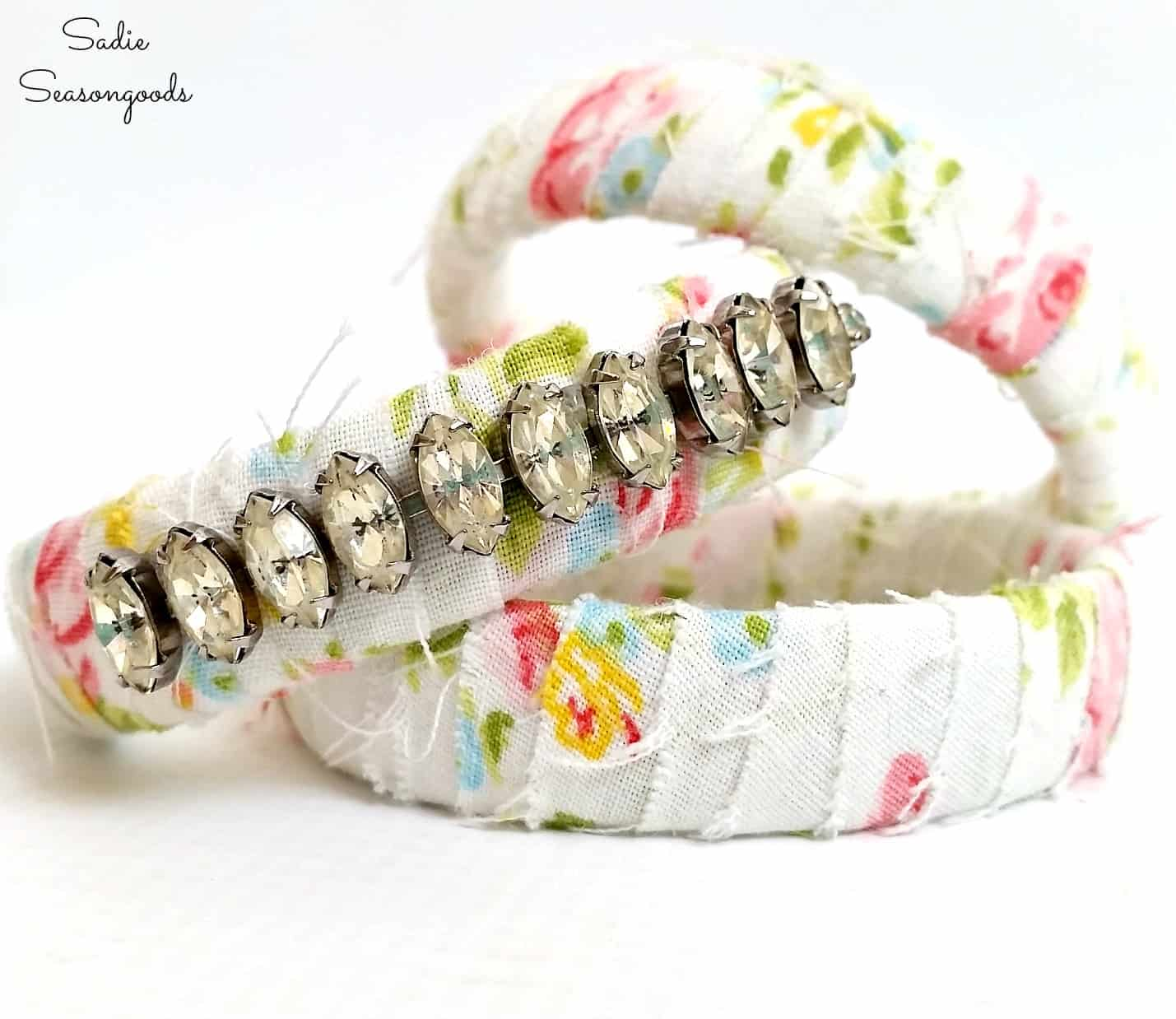 Fabric wrapped bangles with necklace rhinestones
