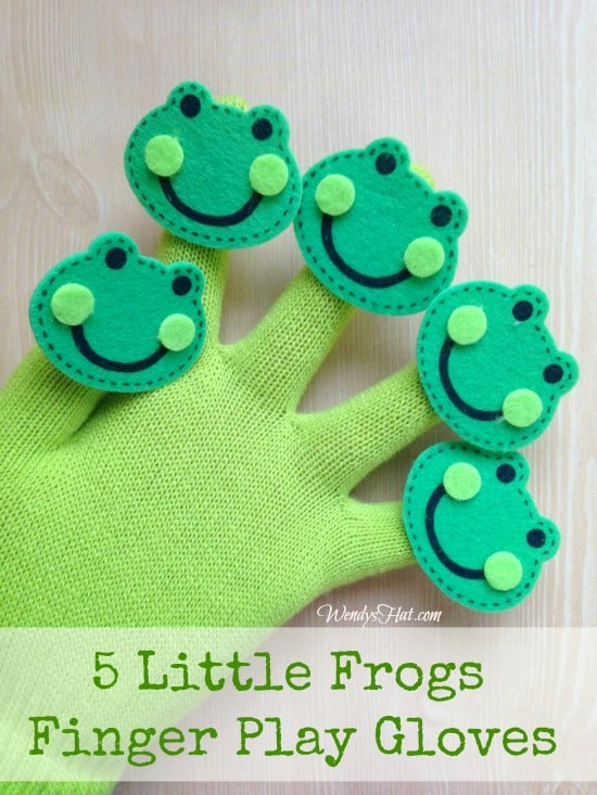 Five little frogs glove puppets