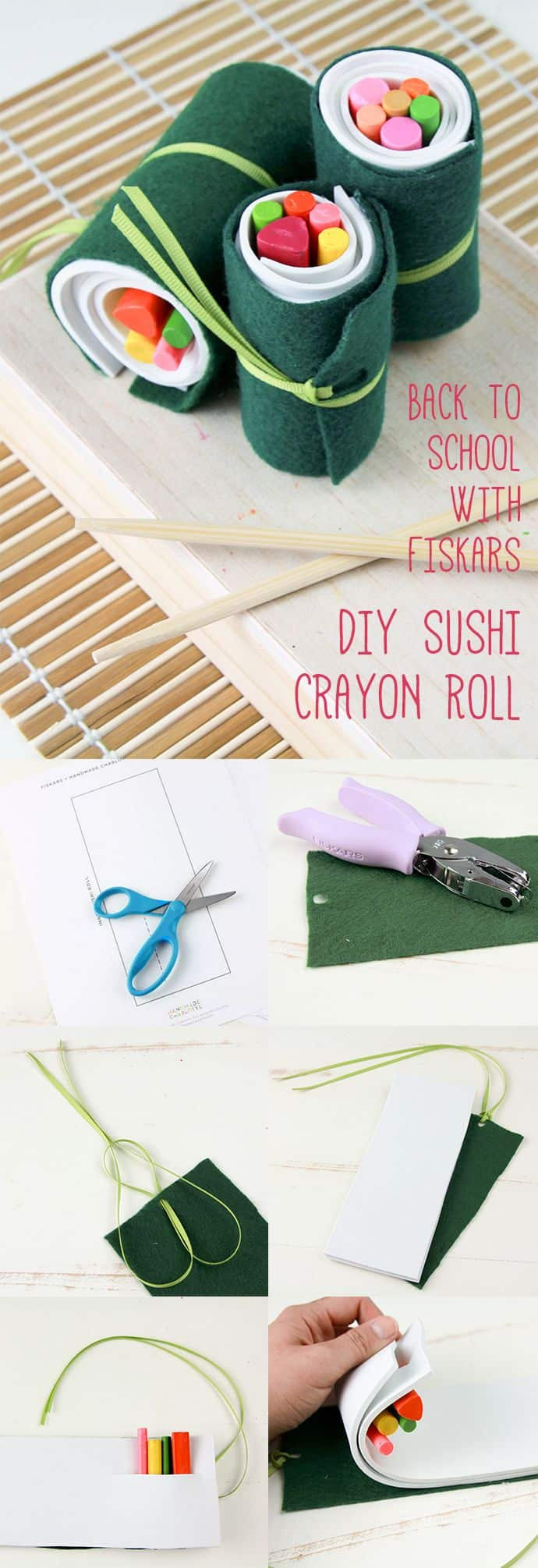 Foam and felt crayon sushi roll