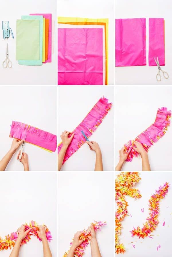 Fringey tissue paper garland
