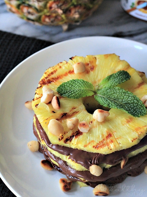 Grilled pineapple rings with nutella and macadamia nuts