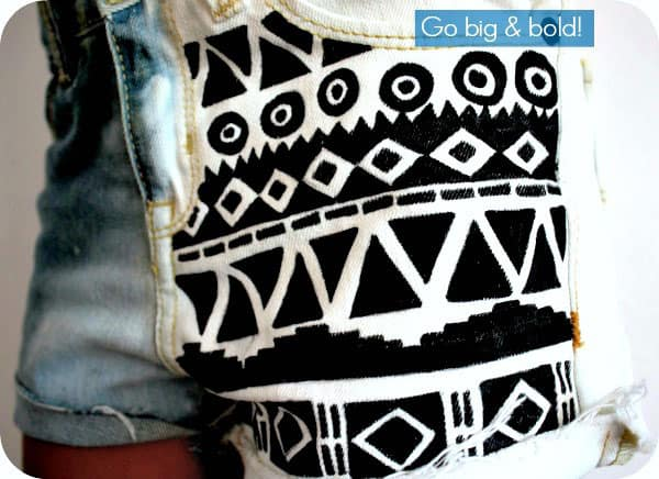 Hand drawn aztec print cut offs