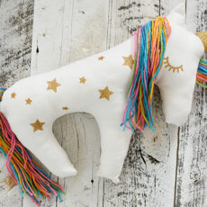 Hand made rainbow unicorn pillow