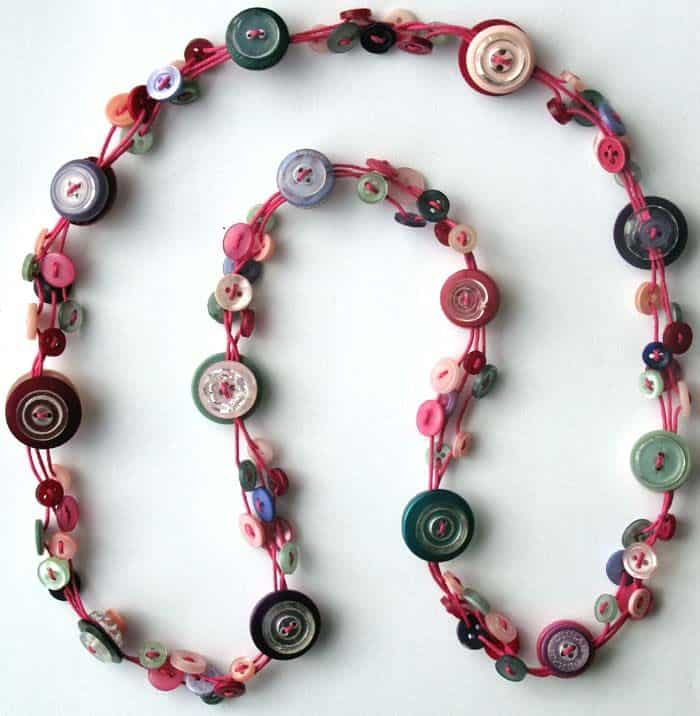Layered buttons necklace