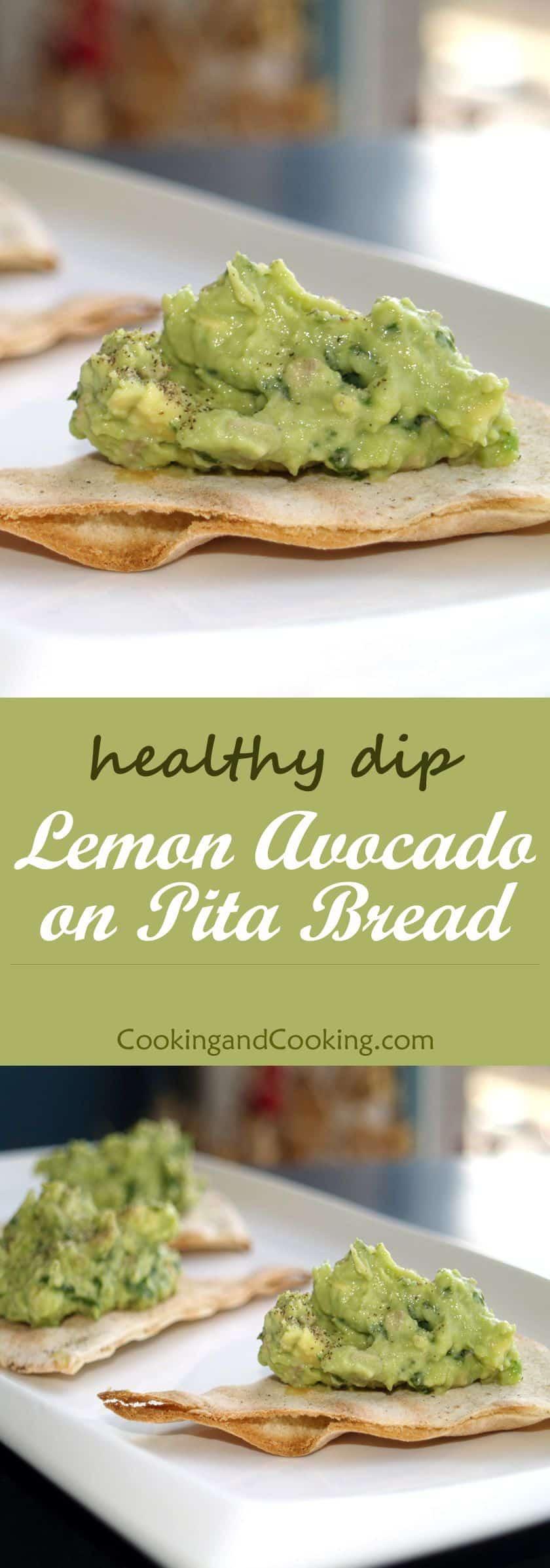Lemon avocado dip with pita bread
