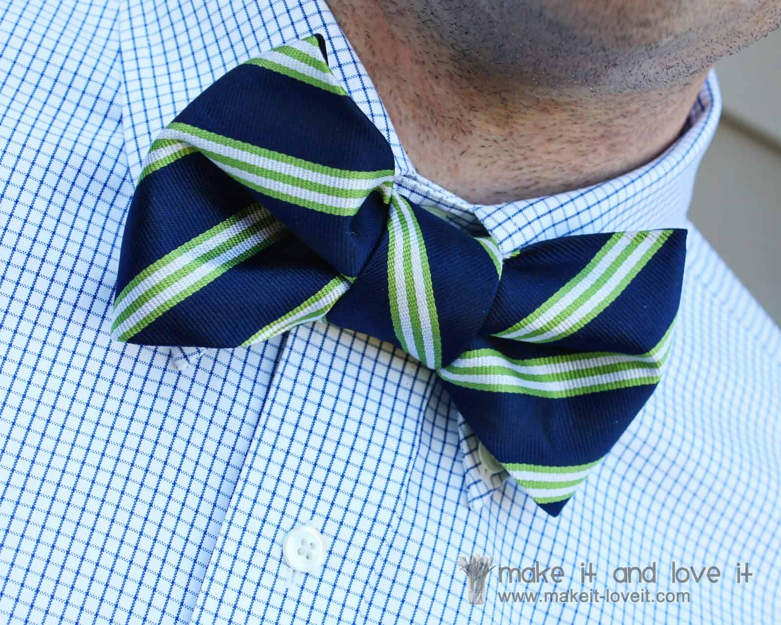 Necktie repurposed into a bowtie