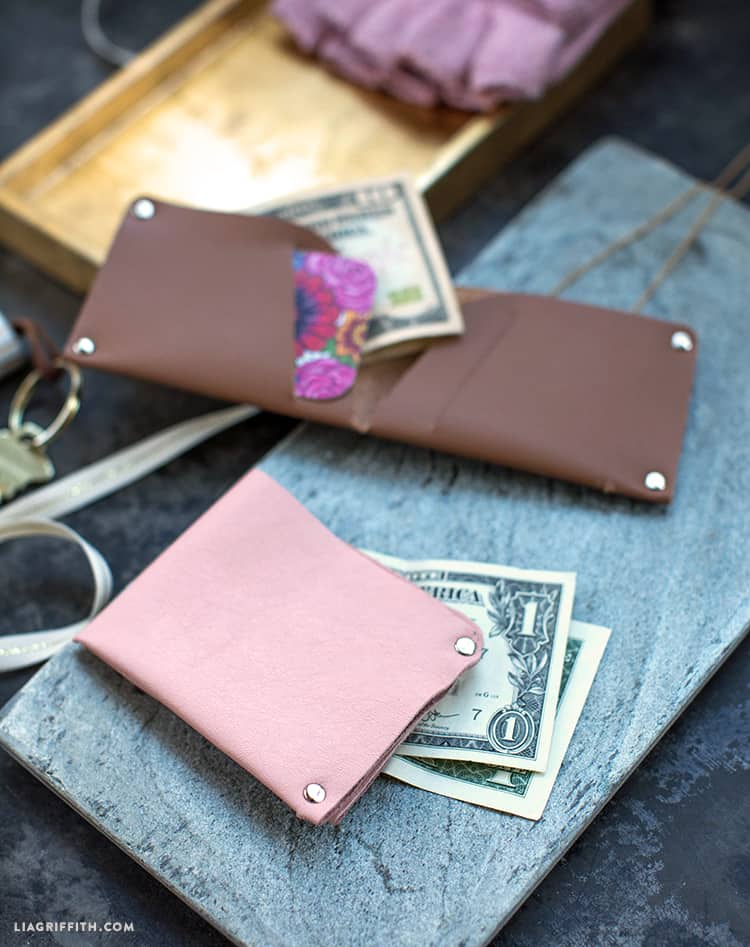 New sew leather wallets diy